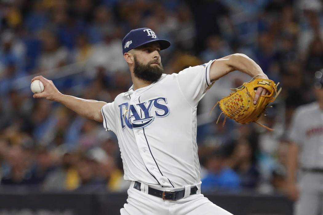 Tampa Bay Rays' Nick Anderson pitches against the Houston Astros in the fifth inning of Game 4 ...