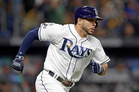Tampa Bay Rays' Tommy Pham runs the bases after hitting a home run against the Houston Astros i ...