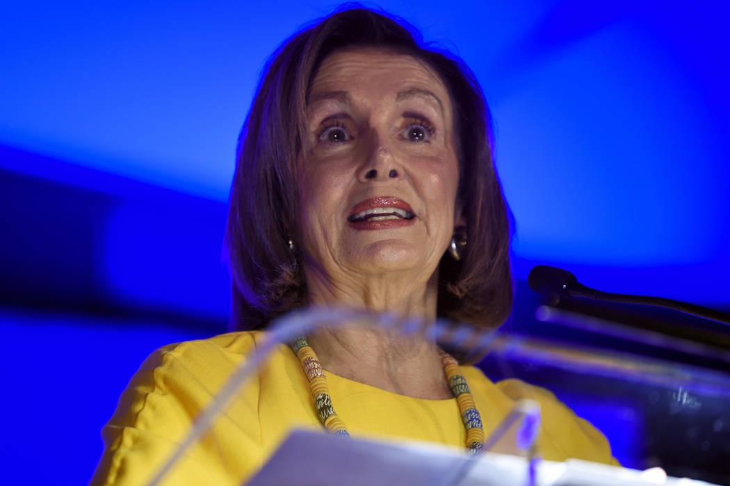 House Speaker Nancy Pelosi addresses a gathering of the South Carolina Democratic Party on Frid ...