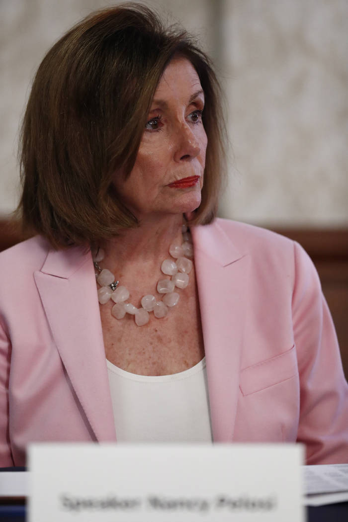 Speaker of the House Rep. Nancy Pelosi, D-Calif., speaks with local officials about Venezuelan ...