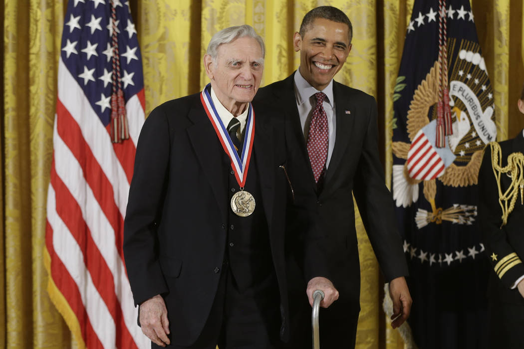 FILE - In this Friday, Feb. 1, 2013 file photo, U.S President Barack Obama awards the National ...