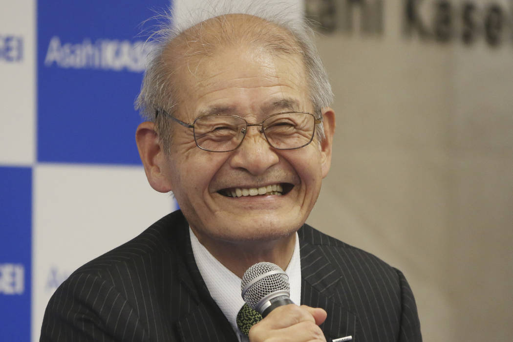 Winner of Nobel Prize of Chemistry Akira Yoshino smiles during a press conference in Tokyo, Wed ...