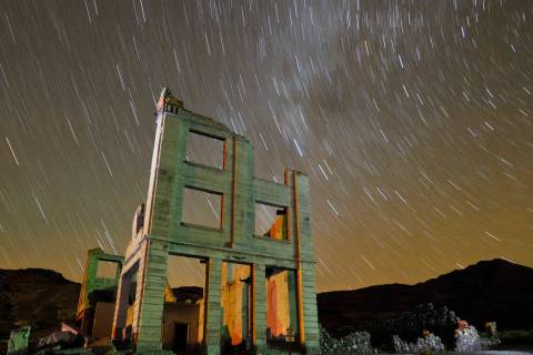 Ruins of the Cook Bank building in Rhyolite, Nev., are shown in this time exposure beneath a ce ...