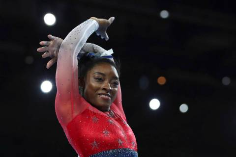 Simone Biles of the U.S. performs on the floor during women's team final at the Gymnastics Worl ...