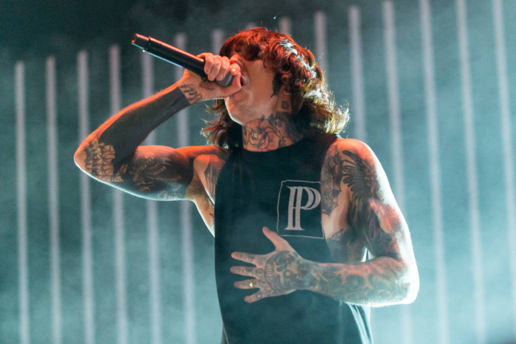 Oliver Sykes of Bring Me The Horizon performs on stage during Day 2 of the 2015 Knotfest USA at ...