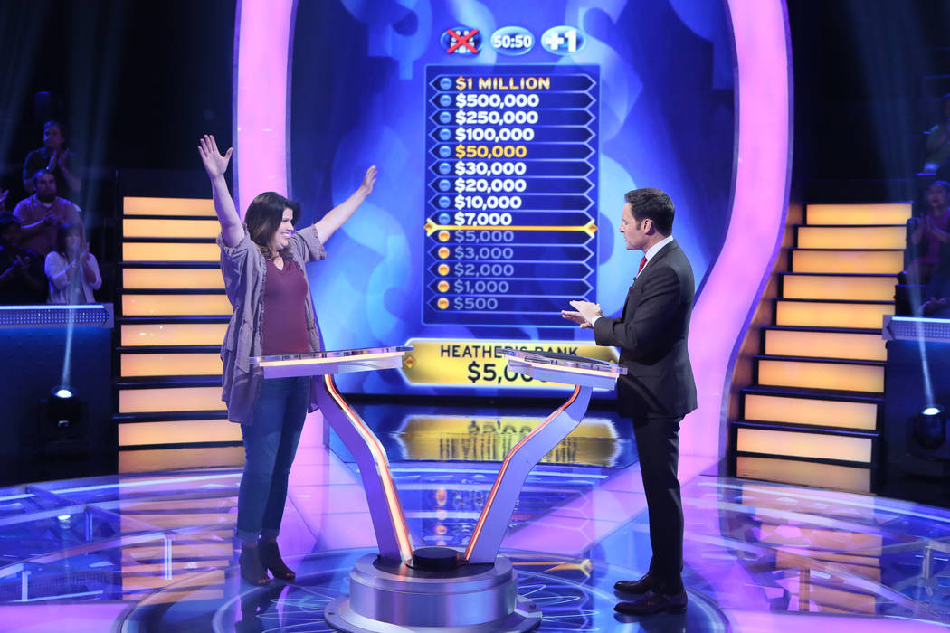 """A photo from the production of """"Who Wants To Be A Millionaire"""" on July 11, 2017, in Las Vegas, ..."""