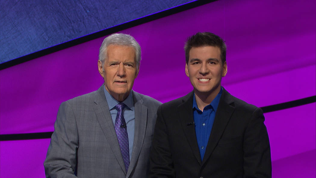 """James Holzhauer, right, will get reacquainted with host Alex Trebek during the """"Jeopardy!"""" Tour ..."""