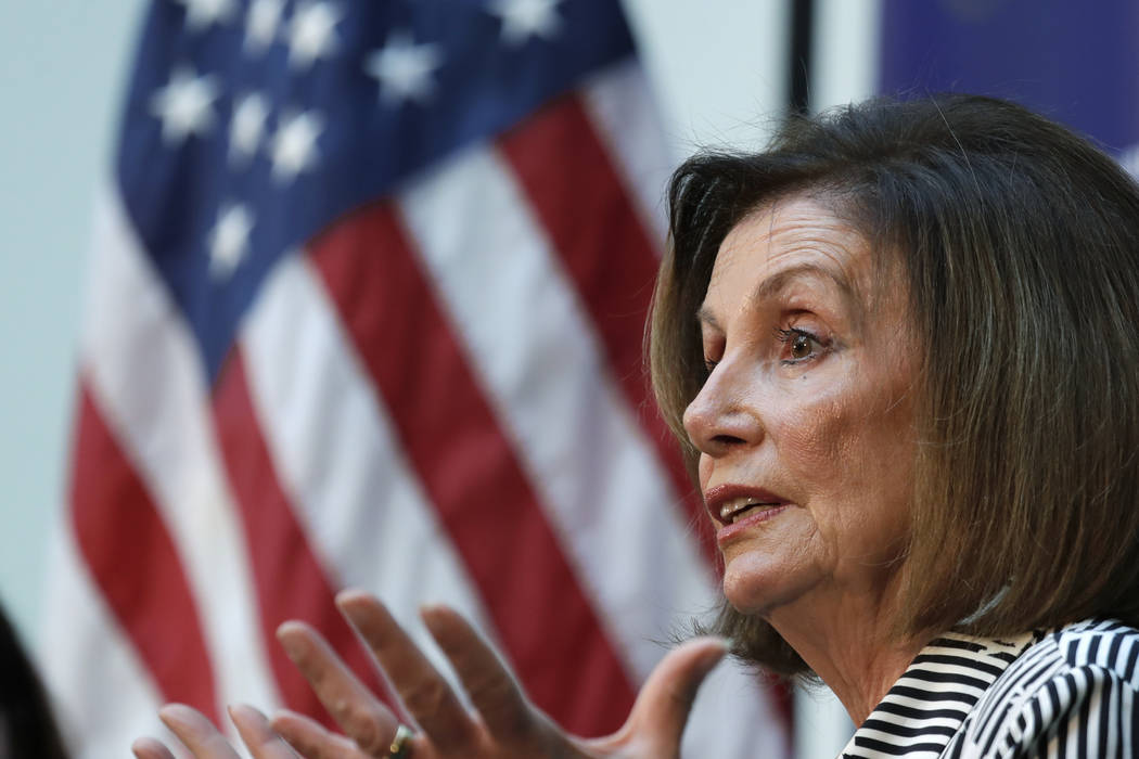 Speaker of the House Nancy Pelosi, D-Calif., talks about lowering the cost of prescription drug ...