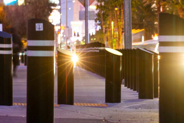 Various sizes of bollards are seen near an exit ontoLas Vegas Boulevard South, just up from t ...