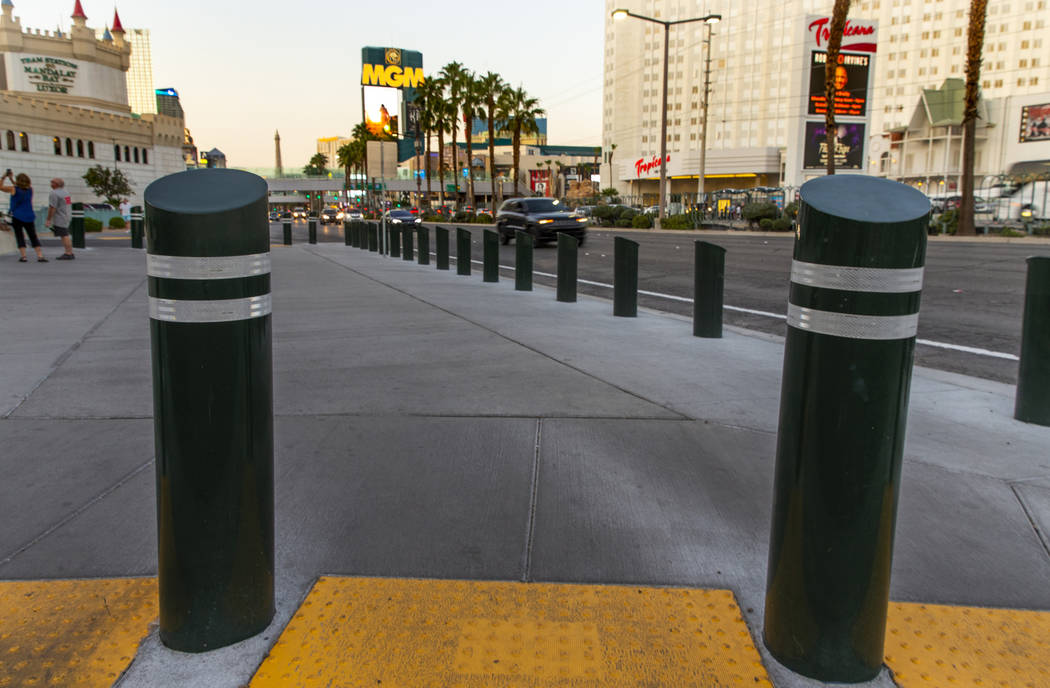 Various sizes of bollards near an exit onto Las Vegas Boulevard South at the Excalibur on Wedne ...