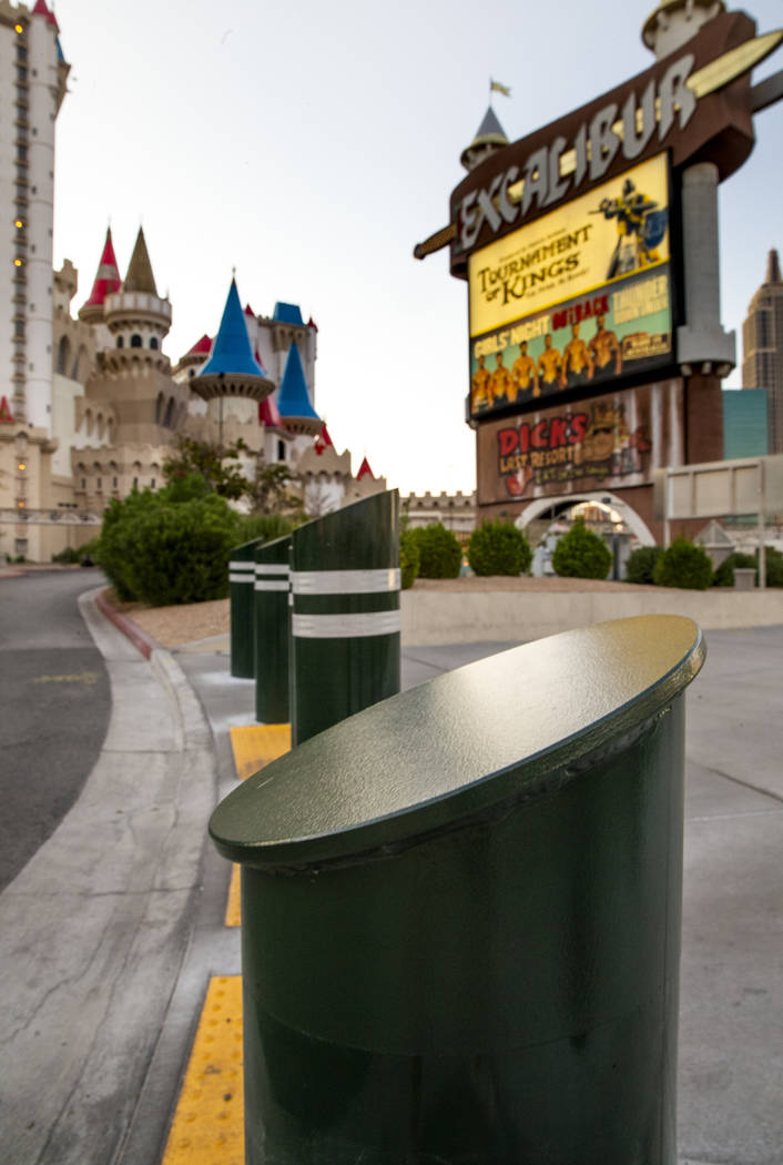 Various sizes of bollards near an exit ontoLas Vegas Boulevard South at the Excalibur on ...