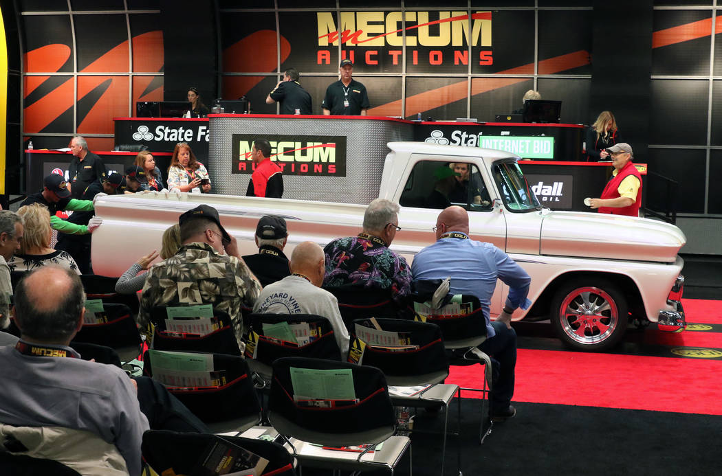 A 1966 Chevy C-10 Pickup is displayed during the Mecum Car Auction at the Las Vegas Convention ...