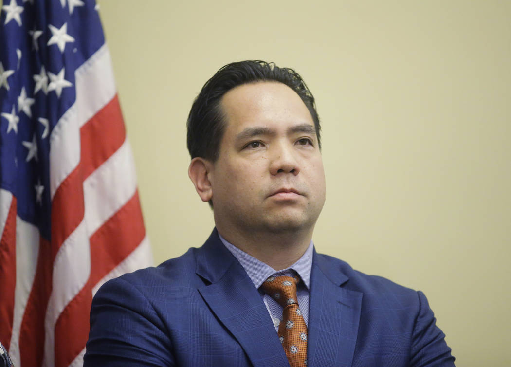 FILE - In this Feb. 23, 2017, file photo, Utah Attorney General Sean Reyes looks on during a ne ...