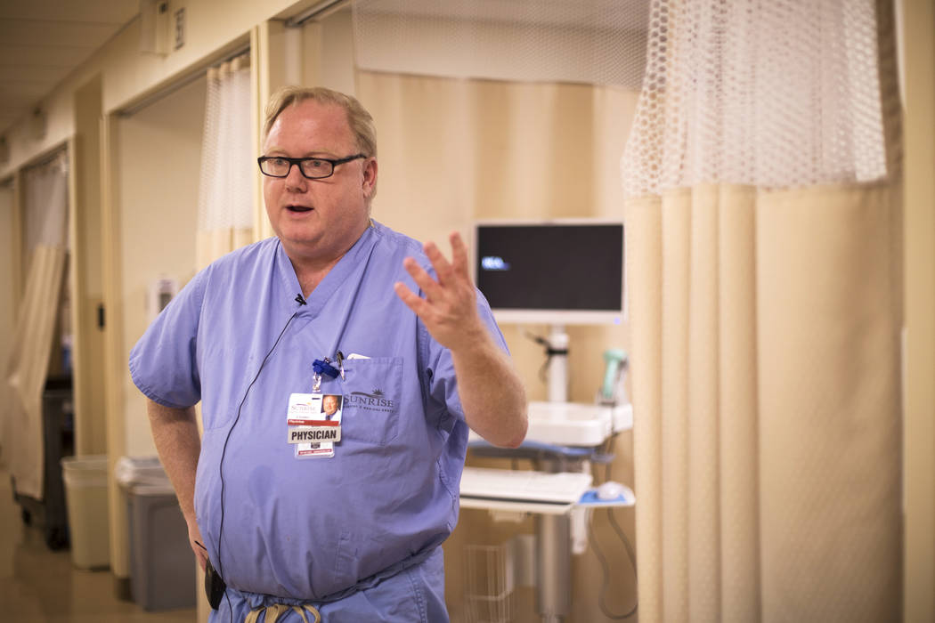 Dr. Jay Coates, medical director for the Burn and Reconstructive Center of Sunrise Hospital, sp ...