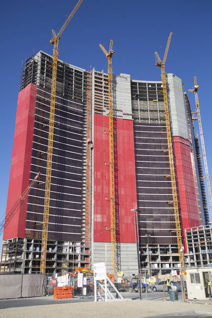 Construction continues on Resorts World Las Vegas, Aug. 29, 2019 in Las Vegas. (Elizabeth Page ...