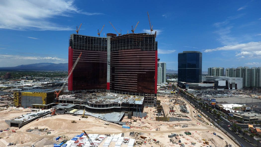 An aerial photo of the Asian-themed Resorts World Las Vegas under construction on the former si ...
