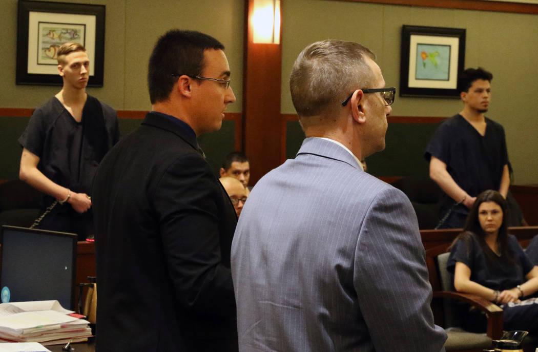 Kody Harlan, left standing, and Jaiden Caruso, right, convicted in the slaying of Matthew Minkl ...