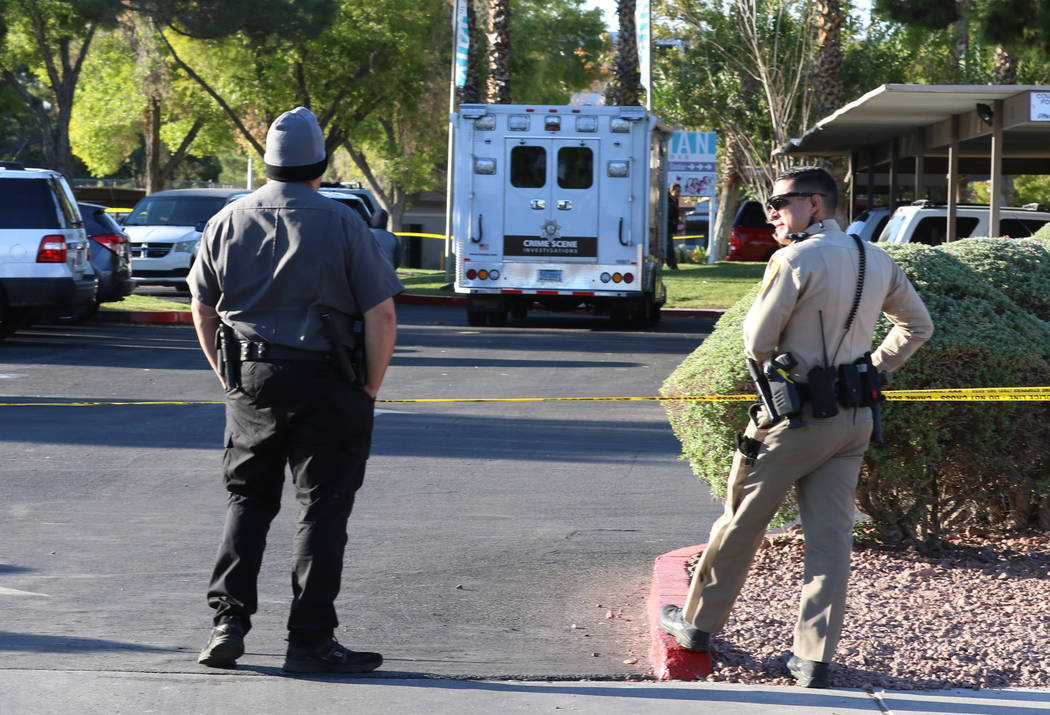 Las Vegas police investigate a shooting death at an apartment complex in the 4200 block of West ...