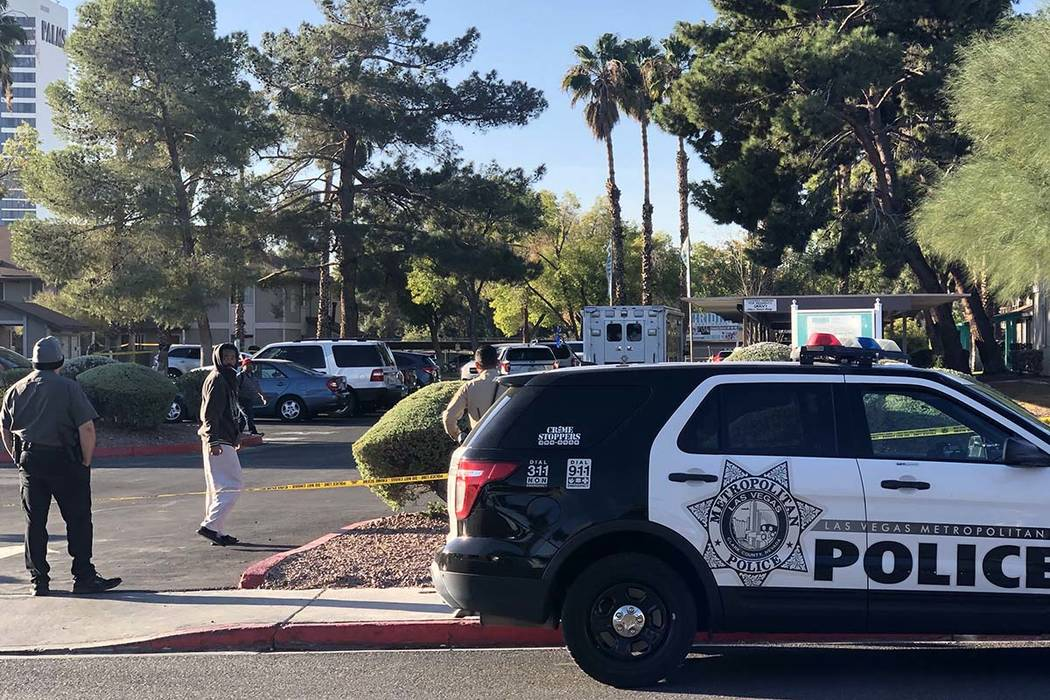 Las Vegas police investigate a shooting death at an apartment complex in the 4200blockofW ...