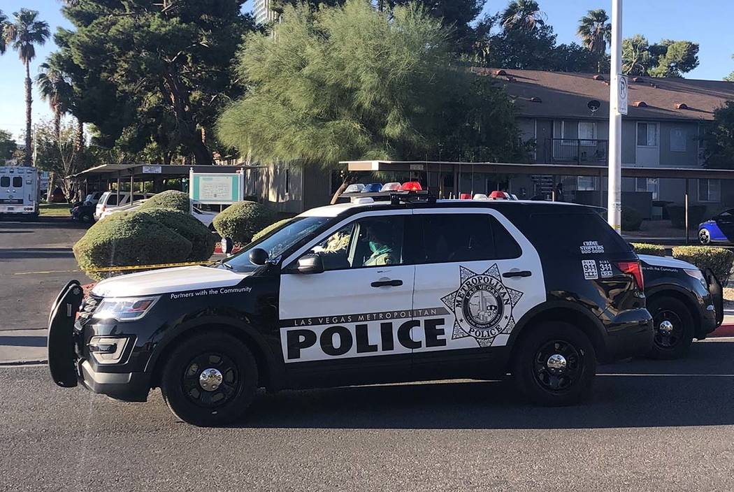 Las Vegas police investigate a shooting death at an apartment complex in the 4200 block of W ...