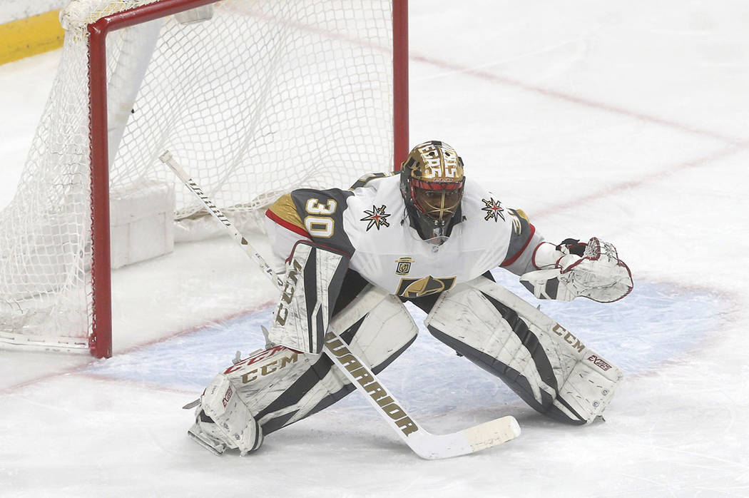 Vegas Golden Knights goalie Malcolm Subban plays against the Minnesota Wild in the first period ...