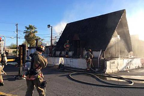 Las Vegas Fire Department crews put out a fire at a vacant restaurant at 1755 E. Charleston Blv ...