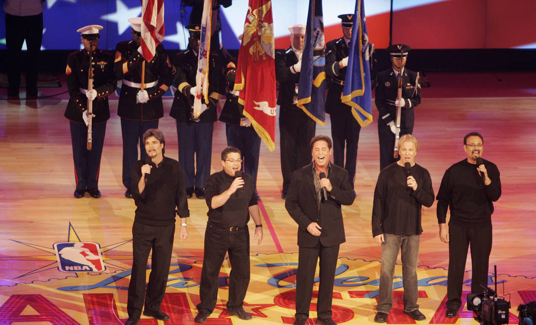 The Danny Gans band sings the National Anthem before the opening tip-off of the NBA All-Star Ga ...