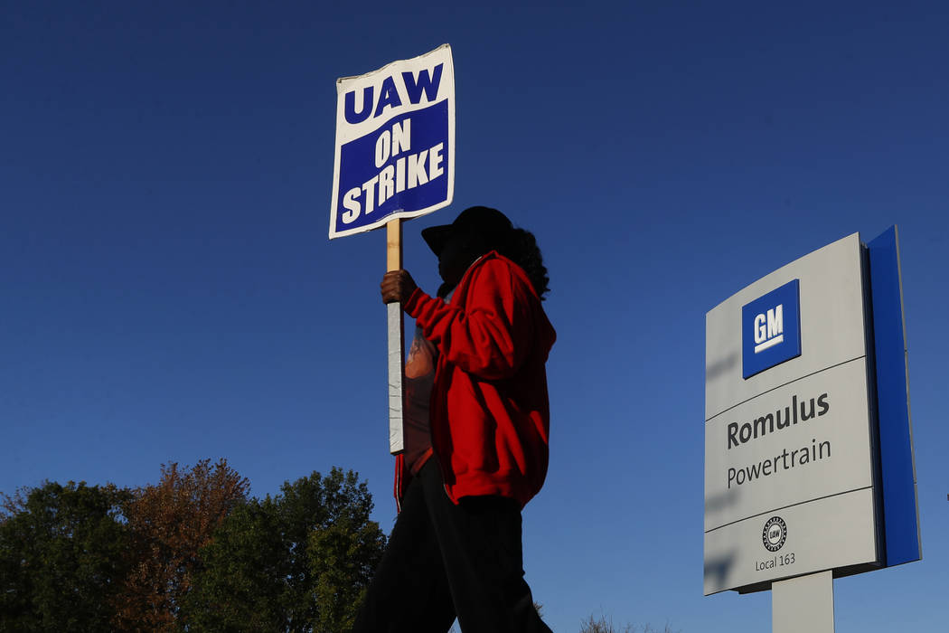 Yolanda Jacobs, a United Auto Workers member, walks the picket line at the General Motors Romul ...