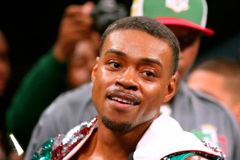 Errol Spence Jr. gestures for the TV cameras before an IBF World Welterweight Championship boxi ...