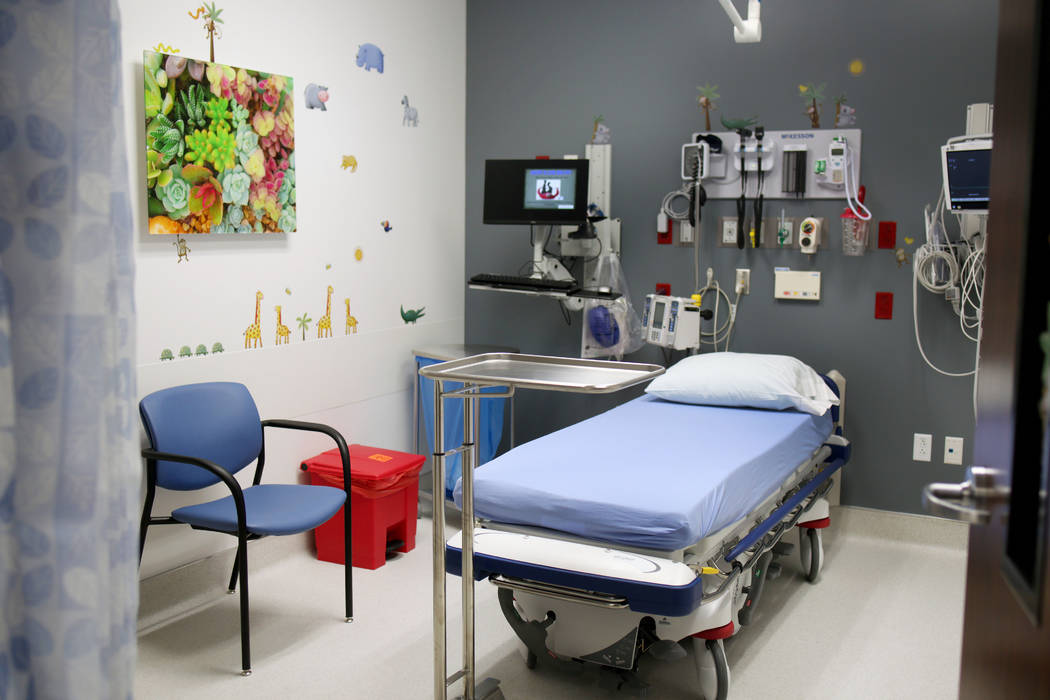 An examination room specially decorated to comfort younger patients at Valley Health System's n ...