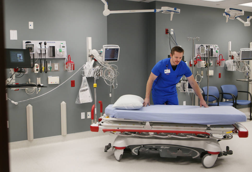 Manager Kevin Scott in a room designed for resuscitation at Valley Health System's new freestan ...