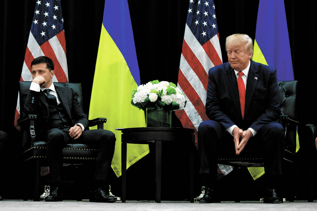 FILE - In this Wednesday, Sept. 25, 2019 file photo, President Donald Trump meets with Ukrainia ...