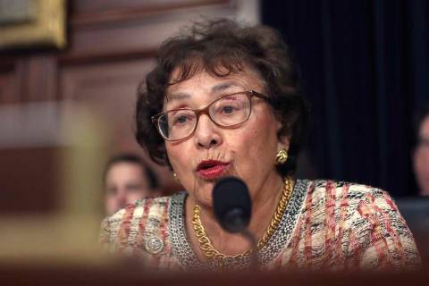 In this April 9, 2019, file photo, Rep. Nita Lowey, D-N.Y., speaks during a hearing on Capitol ...