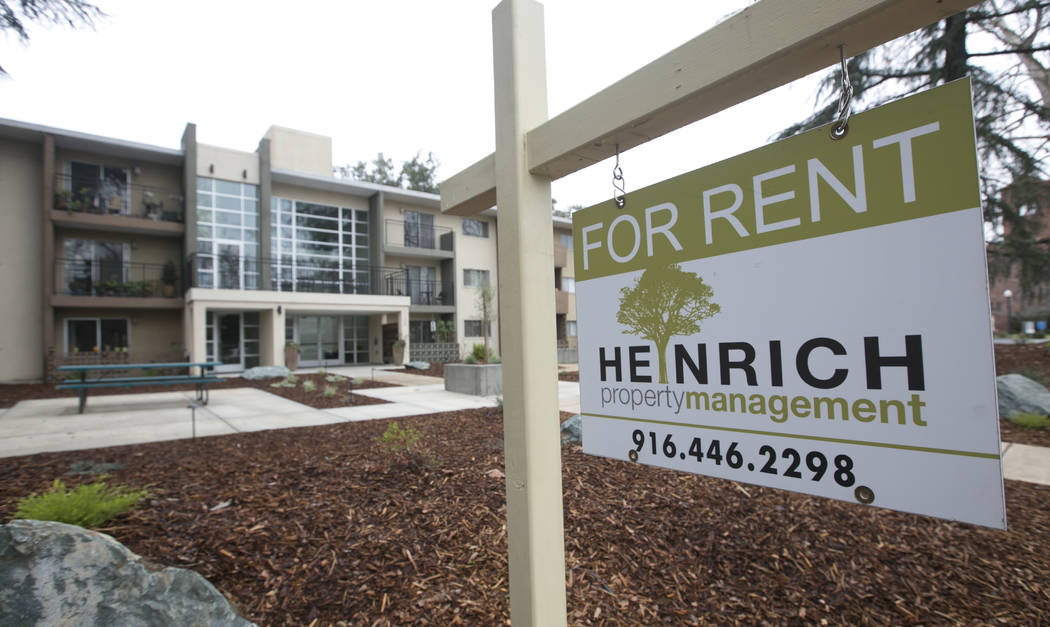 """FILE - This Monday, Jan. 8, 2017, file photo shows a """"For Rent"""" sign outside an apart ..."""
