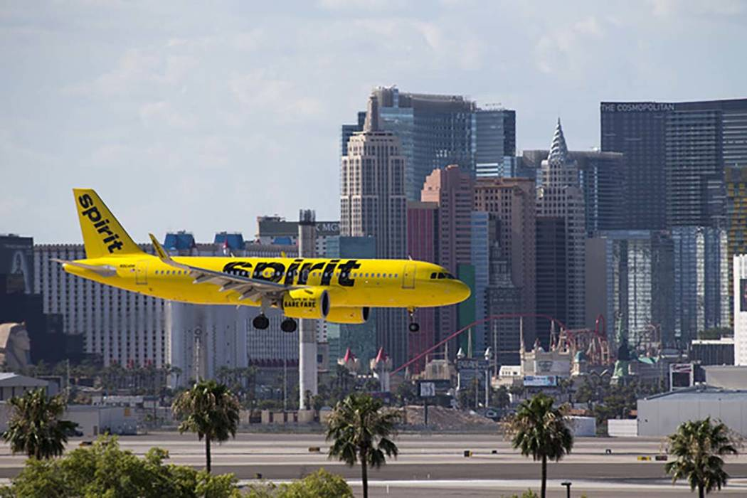A Spirit Airlines flight prepares to land at McCarran International Airport in Las Vegas. (Las ...