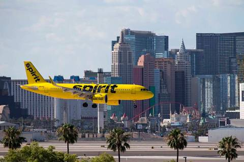 A Spirit Airlines flight prepares to land at McCarran International Airport in Las Vegas. (Las ...