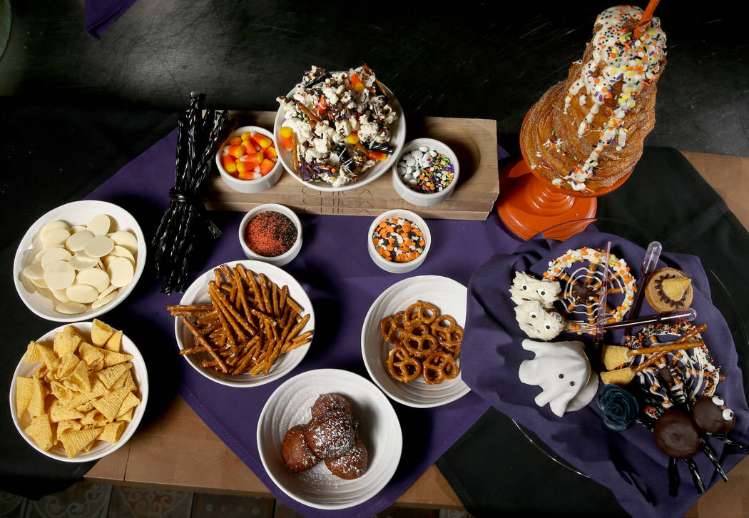 Ingredients to make simple Halloween treats by pastry chef Sara Steele at Chica at The Venetian ...