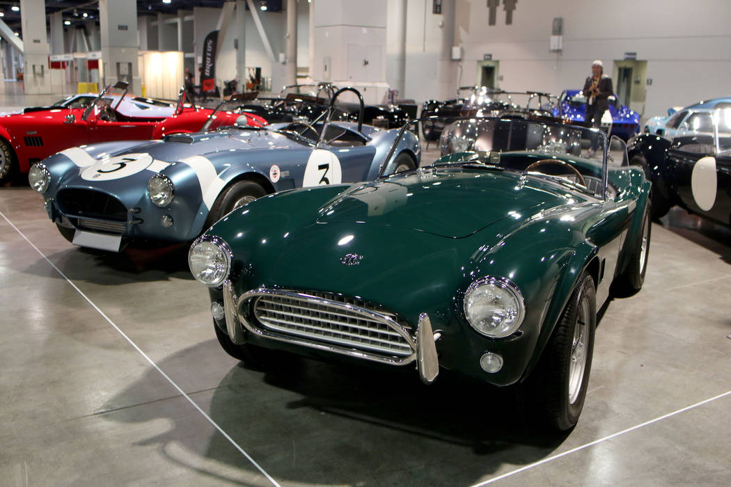A collection of 1960s performance Shelby cars are displayed during a media preview of Big Boys ...