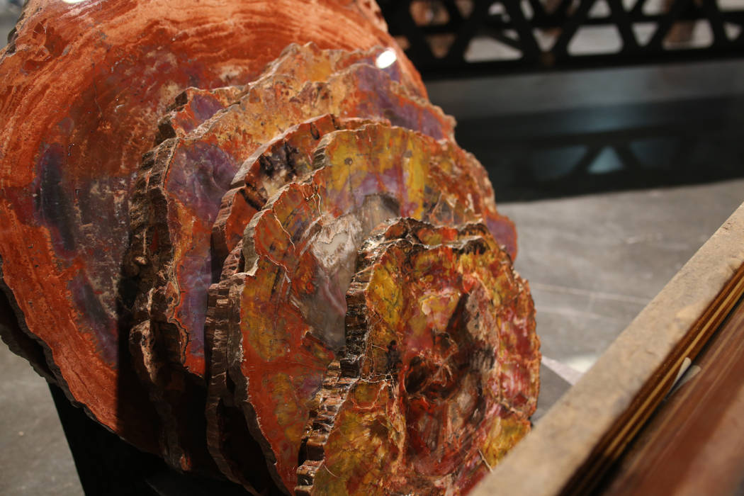 Petrified wood table blocks by Russell-Zuhl Petrified Wood are on display media preview of Big ...