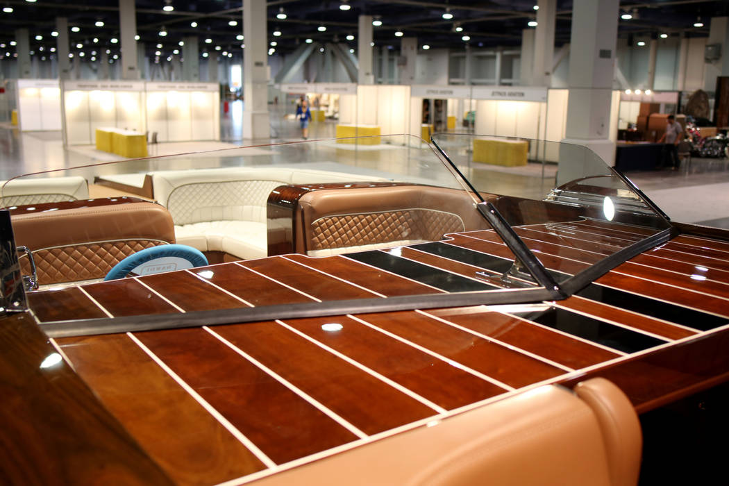A StanCraft Hammerhead boat is displayed during a media preview of Big Boys Toys, an innovation ...