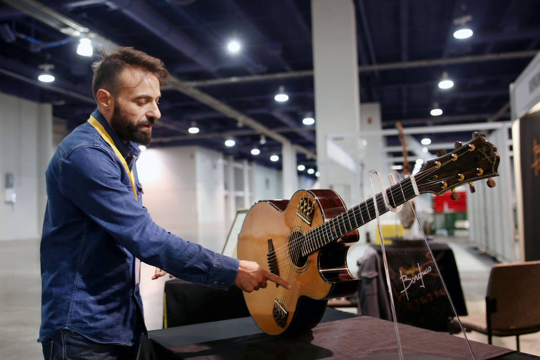 Mirko Borghino of Italy explains his one of a kind luxury handmade Shakti Deluxe displayed for ...