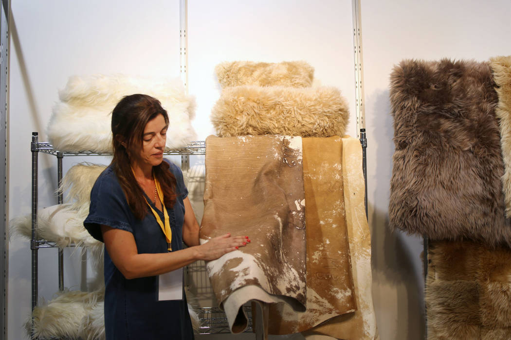Owner of Pitcuca Leathers + Furs Paula Saad of Argentina discusses their leather during the med ...