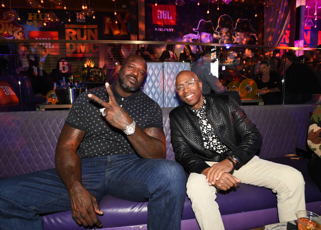 Shaquille O'Neal, left, and Kenny Smith attend night one of JBL Fest 2019 at Omnia Nightclub at ...