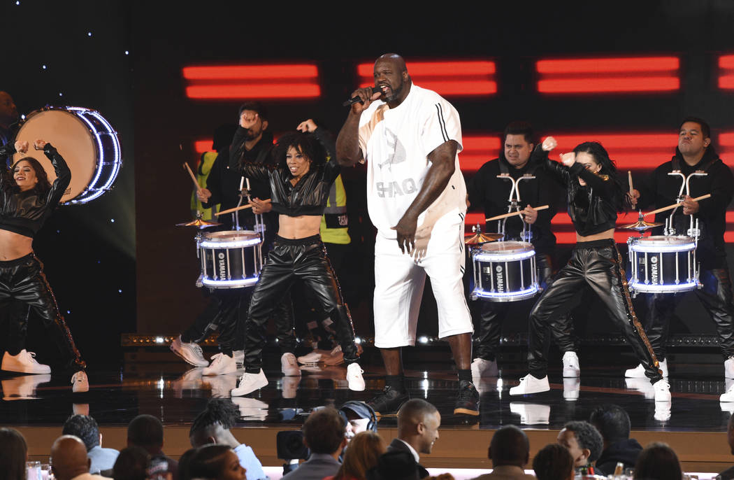Host Shaquille O'Neal performs at the NBA Awards on Monday, June 24, 2019, at the Barker Hangar ...
