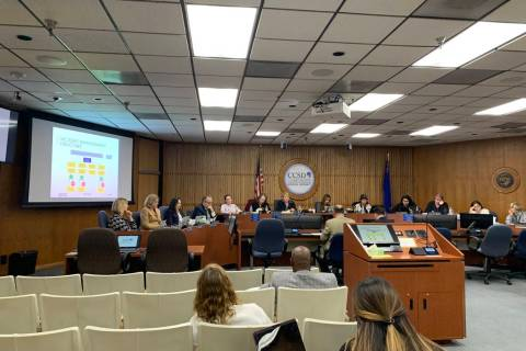 The Clark County School Board hears a presentation on the EthicsPoint system on Thursday, OCt. ...