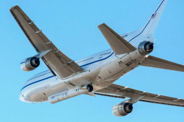 In this Oct. 1, 2019 photo made available by NASA, a Northrop Grumman L-1011 Stargazer aircraft ...