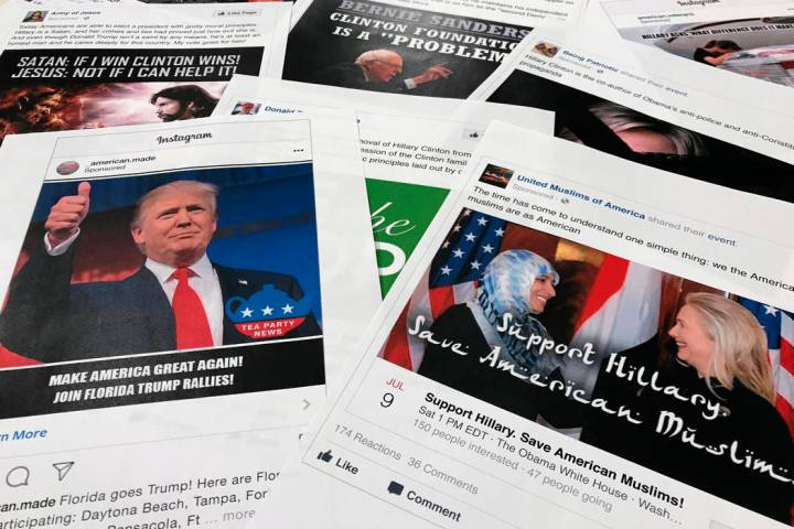 In a Nov. 1, 2017, file photo, Some of the Facebook and Instagram ads linked to a Russian effor ...