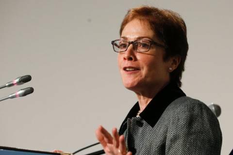 A Nov. 30, 2018, file photo, shows then-U.S. Ambassador to Ukraine, Marie L. Yovanovitch, speak ...