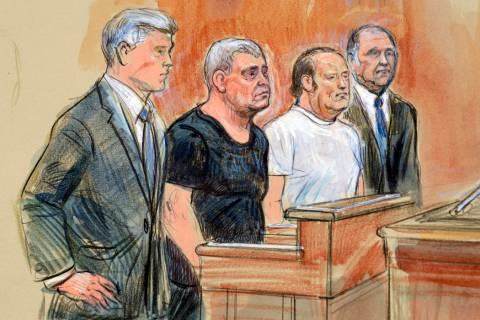 This courtroom sketch depicts from left, attorney Kevin Downing, Lev Parnas, Igor Fruman, and a ...