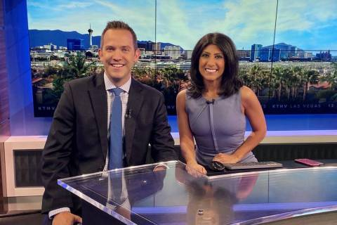 Dayna Roselli is shown with meteorologist Justin Bruce at KTNV Channel 13 on Wednesday, Oct. 9, ...